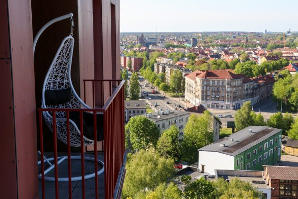 Enjoy the beautiful Klaipeda city panorama from 15th floor